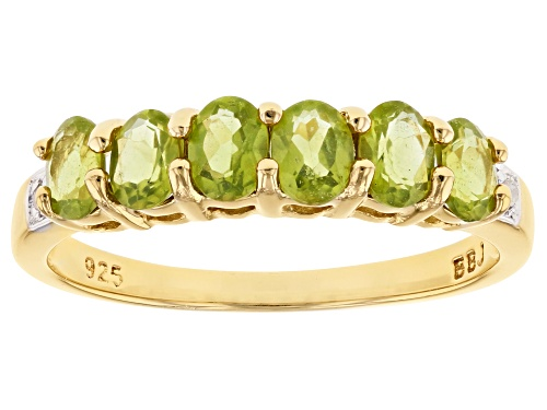 Photo of .91CTW OVAL VESUVIANITE WITH .01CTW WHITE 2 DIAMOND ACCENT 18K GOLD OVER SILVER BAND RING - Size 9