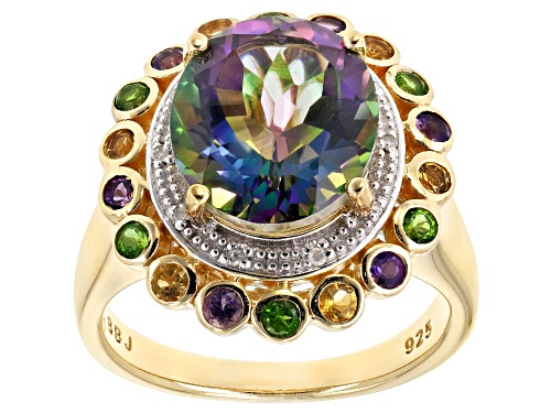 Photo of 4.96ct Mystic Fire® Green Topaz, .55ctw Multi-Gem & .02ctw Diamond Accent 18k Gold Over Silver Ring - Size 7