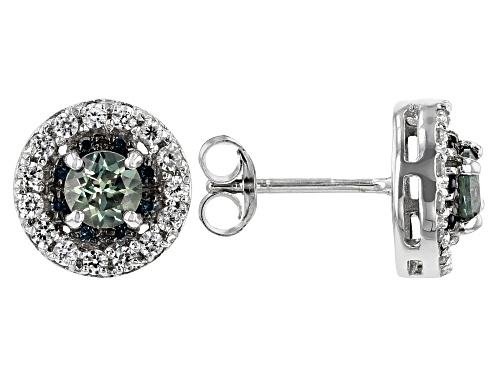 Photo of .76ctw Blue Sapphire, .53ctw White Zircon & .05ctw Blue Diamond Accents Rhodium Over Silver Earrings