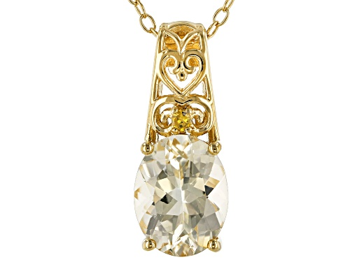 Photo of 1.28ct Yellow Labradorite & .01ct Single Yellow Diamond Accent 18k Gold Over Silver Pendant W/Chain