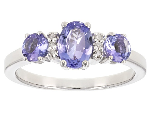 Photo of 1.08ctw oval and round tanzanite with .03ctw white diamond accent rhodium over sterling silver ring - Size 9