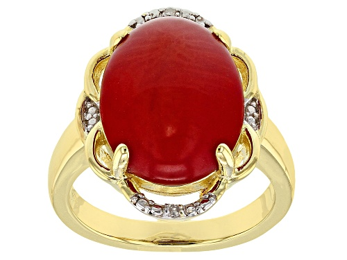 Photo of 16x12mm Oval Red Coral With Two White Diamond Accent 18k Yellow Gold Over Silver Ring - Size 7