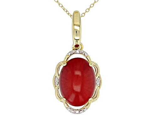 Photo of 16x12mm Oval Cabochon Coral & 2 Diamond Accent 18k Yellow Gold Over Silver Enhancer With Chain