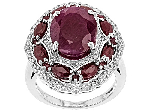 Photo of 8.67CTW OVAL, MARQUISE & ROUND INDIAN RUBY WITH .03CTW WHITE DIAMOND ACCENT RHODIUM OVER SILVER RING - Size 6