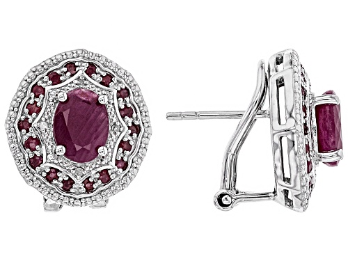 Photo of 3.55CTW OVAL AND ROUND INDIAN RUBY & .03CTW WHITE DIAMOND ACCENT RHODIUM OVER SILVER EARRINGS