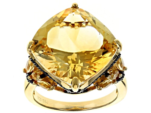 Photo of 8.35CTW BRAZILIAN CITRINE & .05CTW CHAMPAGNE DIAMOND ACCENT 18K YELLOW OVER SILVER RING - Size 7