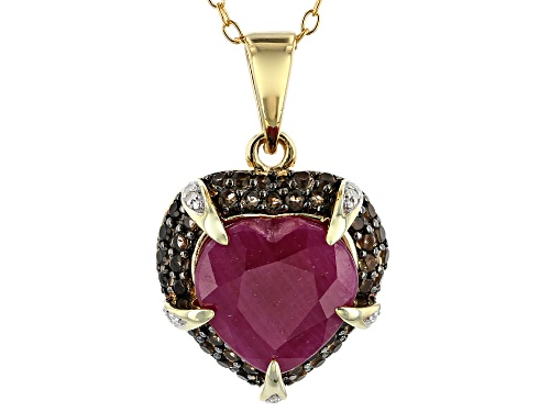 Photo of 5.10ct Indian Ruby, .55ctw Smoky Quartz & .02ctw Diamond Accent 18k Gold Over Silver Pendant w/Chain