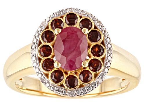 Photo of .81ct Burmese ruby, .51ctw Vermelho Garnet™ & .02ctw white diamond accent 18k gold over silver ring - Size 7