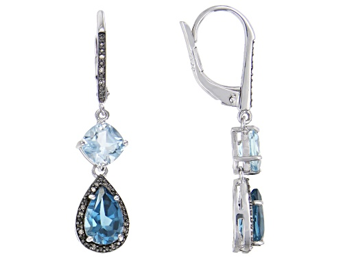 Photo of 4.98ctw London blue & Glacier Topaz(TM) w/champagne diamond accent rhodium over silver earrings