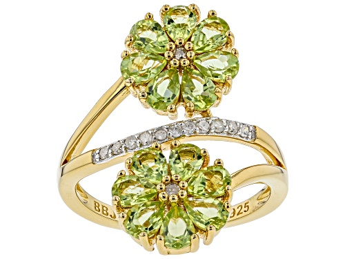 Photo of 1.99CTW MANCHURIAN PERIDOT(TM) & .10CTW WHITE DIAMOND 18K YELLOW GOLD OVER SILVER FLORAL BYPASS RING - Size 6