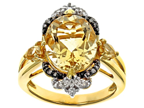 Photo of 3.82ctw citrine, .02ctw champagne diamond accent and .10ctw white zircon 18k gold over silver ring - Size 7