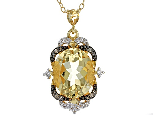 Photo of 3.70ctw citrine, .02ctw diamond accent, .12ctw white zircon 18k gold over silver pendant w/chain