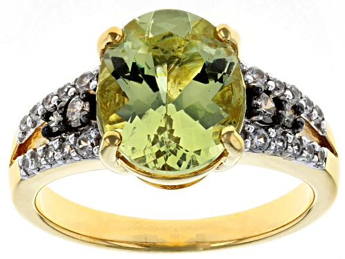 Photo of 3.16ct yellow apatite, .19ctw zircon, .08ctw 4 champagne diamond accent 18k gold over silver ring - Size 11