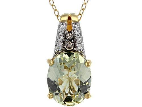 Photo of 3.23ctw yellow apatite, white zircon & .04ctw 2 diamond accent 18k gold over silver pendant w/chain