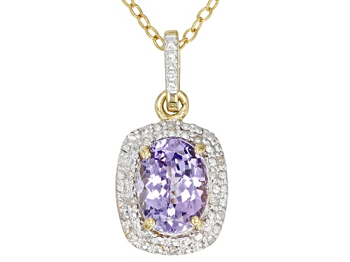 Photo of 1.00CT OVAL TANZANITE WITH .05CTW WHITE DIAMOND ACCENT 18K GOLD OVER SILVER PENDANT WITH CHAIN