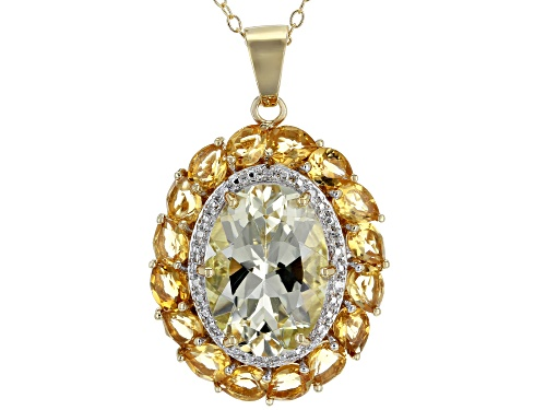 Photo of 6.11ctw Yellow Labradorite & Citrine w/.02ctw Diamond Accent 18k Gold Over Silver Pendant w/Chain