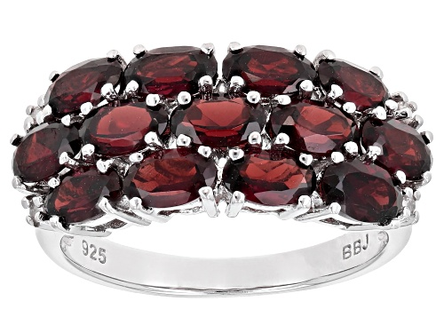 Photo of 3.20CTW OVAL VERMELHO GARNET(TM) & .03CTW WHITE 4 DIAMOND ACCENT RHODIUM OVER STERLING SILVER RING - Size 7