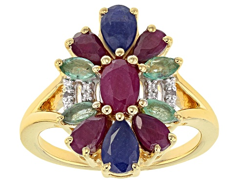 Photo of 2.38ctw Ruby, Emerald, Blue Sapphire & .01ctw Two Diamond Accents 18k Gold Over Silver Ring - Size 10