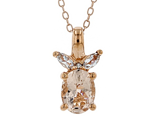 Photo of 1.05ctw Morganite, Aquamarine & Single Diamond Accent 18k Rose Gold Over Silver Pendant w/ Chain