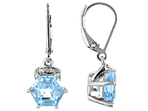 Photo of 5.27CTW HEXAGON GLACIER TOPAZ(TM) WITH .01CTW WHITE DIAMOND ACCENT RHODIUM OVER SILVER EARRINGS