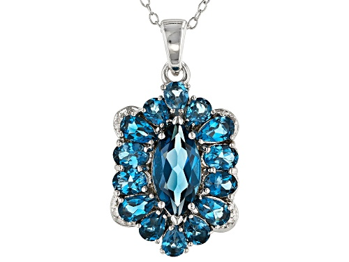 Photo of 4.46ctw London Blue Topaz with .01ctw Four Diamond Accent Rhodium Over Silver Pendant with Chain