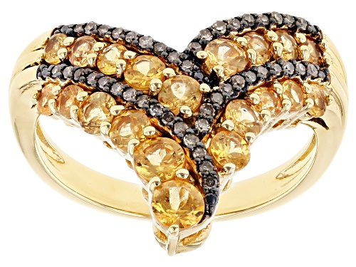Photo of 1.21CTW ROUND MANDARIN GARNET WITH .11CTW CHAMPAGNE DIAMOND 18K YELLOW GOLD OVER SILVER RING - Size 8
