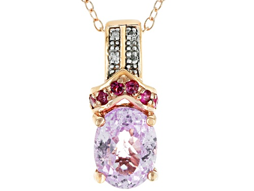 Photo of 1.98ct Kunzite, .15ctw Pink Spinel & .01ctw Diamond Accent 18k Rose Gold Over Silver Pendant w/Chain