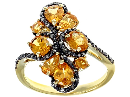 Photo of 2.01CTW MIXED SHAPES MANDARIN GARNET & .10CTW CHAMPAGNE DIAMOND 18K YELLOW OVER STERLING SILVER RING - Size 7