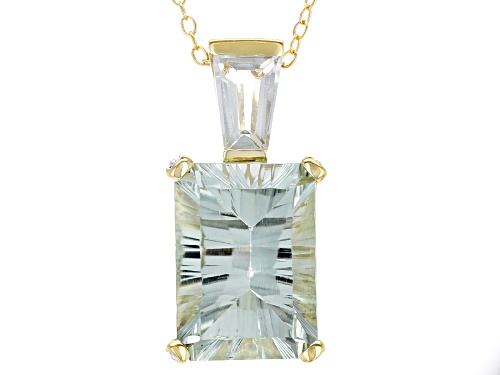 Photo of 6.63ctw Mixed Shape Prasiolite and .01ctw Four Diamond Accent 18k Gold Over Silver Pendant w/Chain
