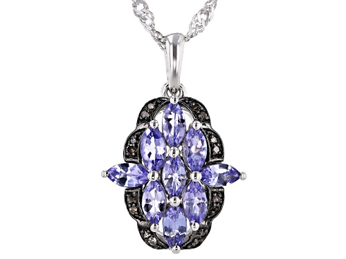 Photo of 1.20CTW TANZANITE WITH .05CTW CHAMPAGNE DIAMOND ACCENTS RHODIUM OVER SILVER PENDANT WITH CHAIN