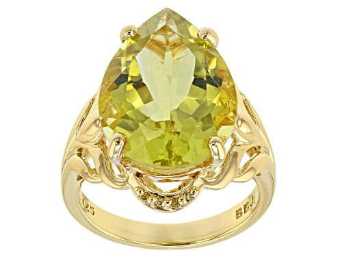 Photo of 8.82CT CANARY QUARTZ WITH .02CTW YELLOW DIAMOND ACCENT 18K YELLOW GOLD OVER SILVER RING - Size 9