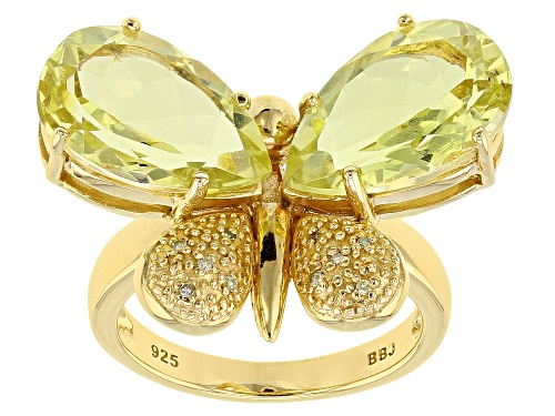 Photo of 7.47ctw canary yellow quartz with .02ctw yellow diamond accent 18k gold over silver butterfly ring - Size 8