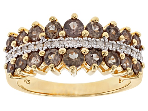 Photo of 1.35ctw pink color shift garnet with .10ctw white diamonds 18k yellow gold over silver band ring - Size 8