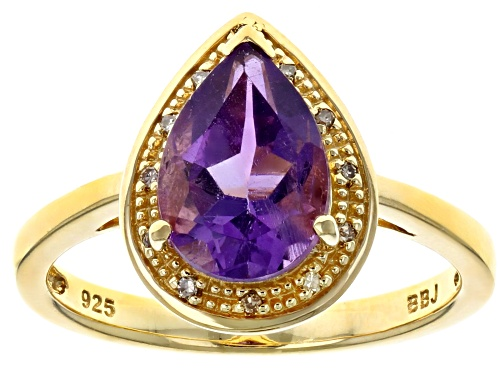 Photo of 1.53CT PEAR SHAPE AFRICAN AMETHYST WITH .03CTW CHAMPAGNE DIAMOND ACCENT 18K YELLOW OVER SILVER RING - Size 9