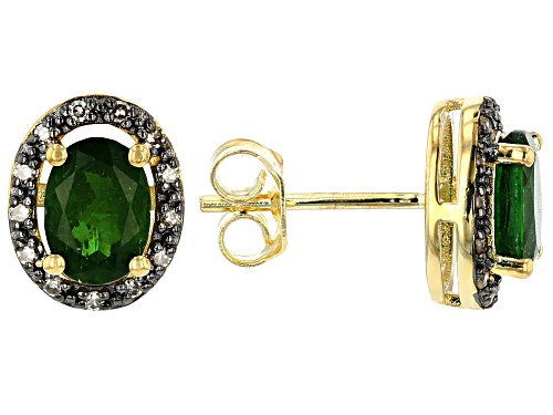 Photo of 1.43CTW OVAL RUSSIAN CHROME DIOPSIDE WITH .10CTW CHAMPAGNE DIAMONDS 18K YELLOW OVER SILVER EARRINGS