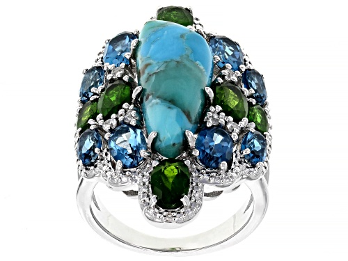 Photo of Free-form turquoise with 4.48ctw multi-gem & .01ctw white 4 diamond accent rhodium over silver ring - Size 7
