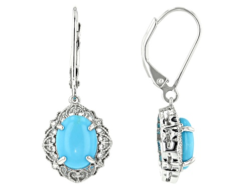 Photo of 9x7mm Oval Sleeping Beauty Turquoise & White Diamond Accent Rhodium Over Silver Earrings