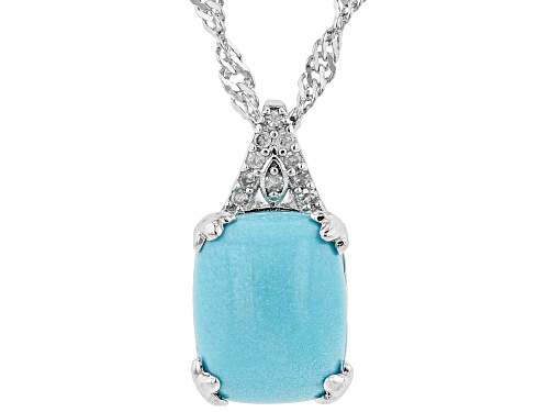 Photo of 10x8mm Sleeping Beauty Turquoise & .04ctw Diamond Accent Rhodium Over Silver Pendant W/Chain