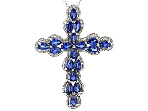 Photo of 5.07CTW NEPALESE KYANITE & .05CTW WHITE DIAMOND ACCENT RHODIUM OVER SILVER CROSS PENDANT WITH CHAIN