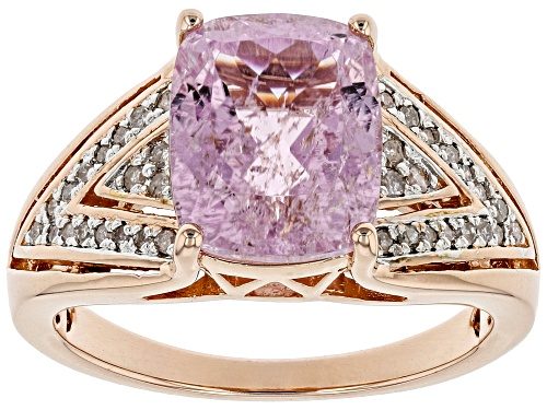 Photo of 3.08CT RECTANGULAR CUSHION KUNZITE WITH .18CTW ROUND WHITE DIAMONDS 18K ROSE GOLD OVER SILVER RING - Size 8