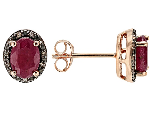 Photo of 1.61ctw Indian Ruby with .06ctw Champagne Diamond Accent 18k Rose Gold Over Silver Stud Earrings