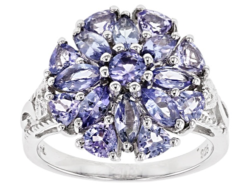 Photo of 2.00ctw Mixed Shape Tanzanite & .01ctw White Two Diamond Accent Rhodium Over Silver Ring - Size 7