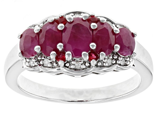 Photo of 1.56ctw Burmese ruby with .06ctw red spinel and .04ctw white diamond accent rhodium over silver ring - Size 8