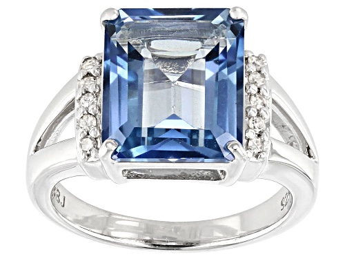 Photo of 5.87ct emerald cut Blue Turquoise™ color topaz, .09ctw diamond accent rhodium over silver ring - Size 8
