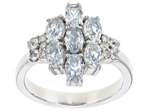 1.29ctw oval & round aquamarine with .07ctw round diamond accent rhodium over sterling silver ring - Size 8
