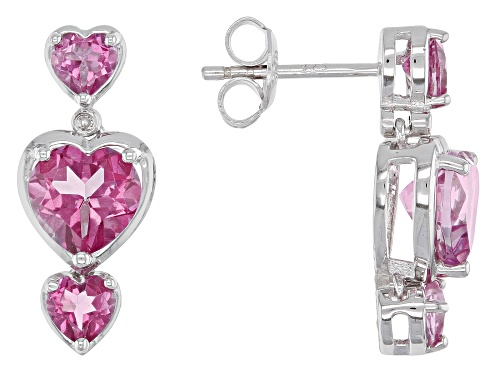 Photo of 3.69ctw Heart Shape Pink Topaz & Two Diamond Accent Rhodium Over Silver Dangle Earrings