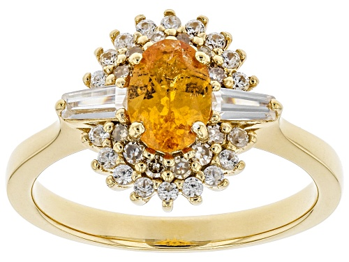 Photo of .94ct Mandarin Garnet, .42ctw White Zircon & Champagne Diamonds 18k Gold Over silver Ring - Size 9