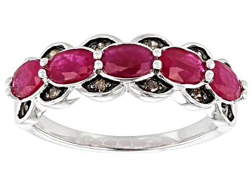 Photo of 1.34ctw Oval Burmese Ruby with .09ctw Round Champagne Diamond Accent Rhodium Over Silver Band Ring - Size 7