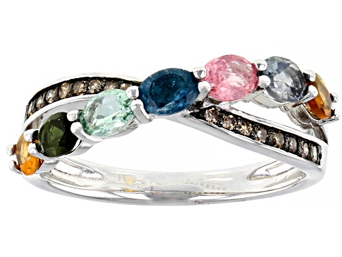 Photo of .83ctw Oval Multi-Tourmaline With Round Champagne Diamond Accent Rhodium Over Sterling Silver Ring - Size 8