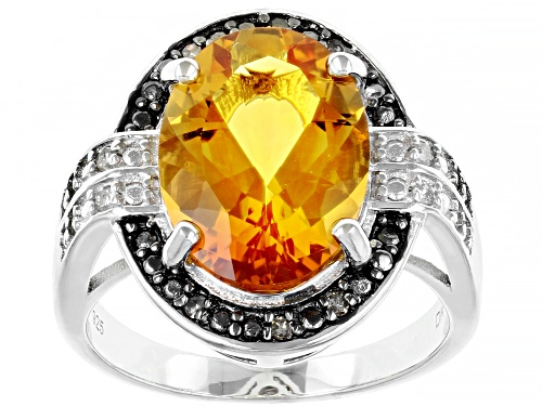 Photo of 5.02ct Oval Citrine With .13ctw Champagne & White Diamond Rhodium Over Silver Ring - Size 7